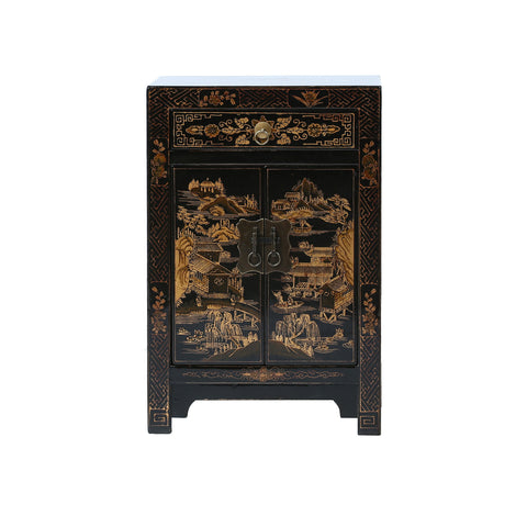 Black and Gold Chinese Bedside Cabinet