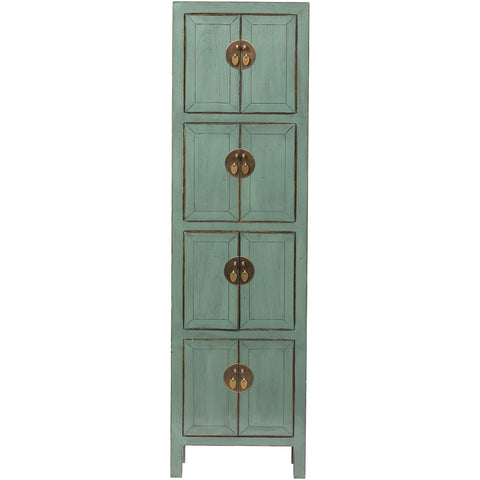 Green Grey Slim Tall Chinese Cabinet