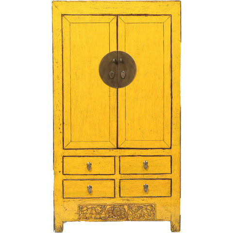 Yellow Vintage Chinese Wardrobe from Shanxi