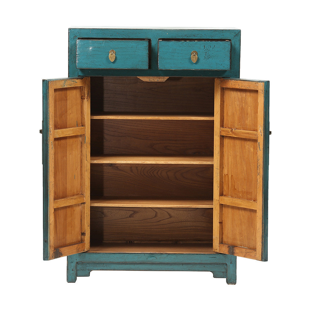 ROUGE Turquoise Chinese Cabinet with High Doors - with open doors