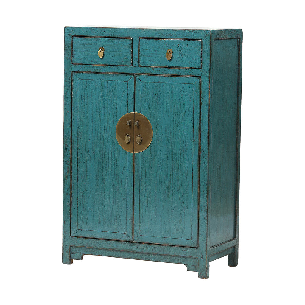 ROUGE Turquoise Chinese Cabinet with High Doors - side view