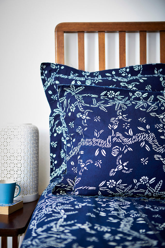 Bed Cover with All Indigo Blue & White Botanical 'Birds & Bees' Pattern - Chinese homewares- Rouge Shop antique stores London - city furniture