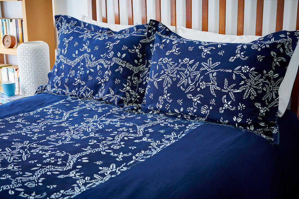 Bed Cover with Indigo & Blue & White Botanical  'Birds & Bees' Pattern - Chinese homewares- Rouge Shop antique stores London - city furniture