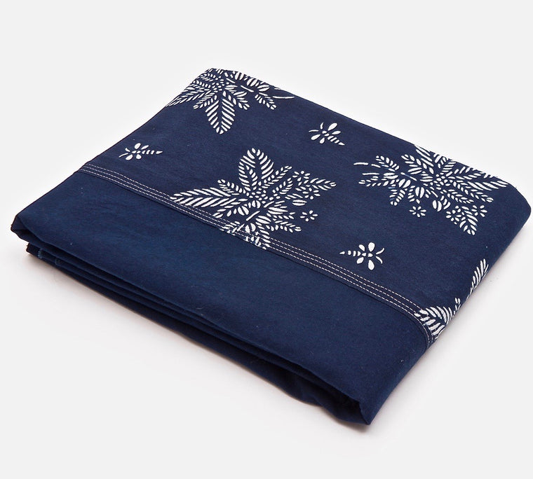 Table cloth with Indigo & Blue & White Botanical Pattern 'Coffee Tea or Me' - Chinese homewares- Rouge Shop antique stores London - city furniture