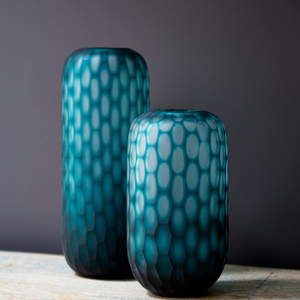 Turquoise Honeycomb Glass Vase – Tall