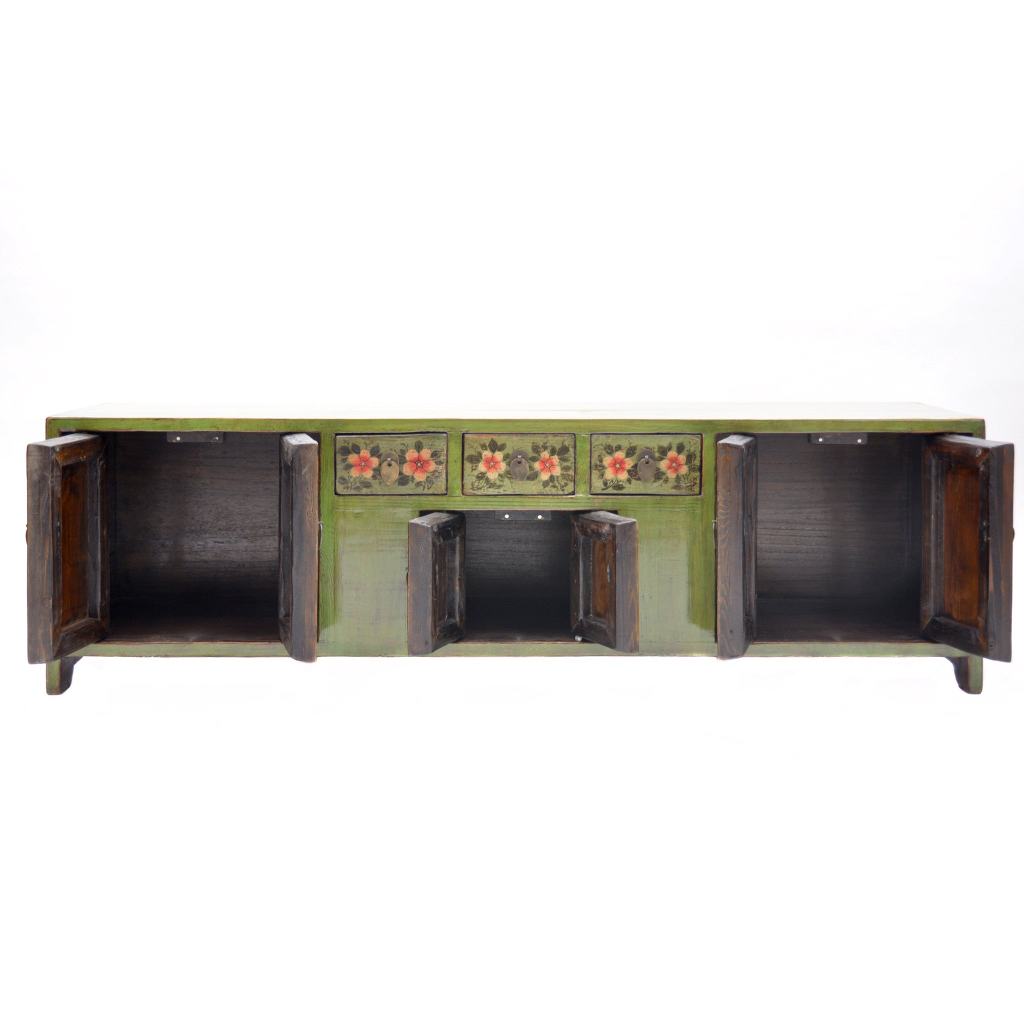Low Green Chinese Sideboard with Red Flowers door open