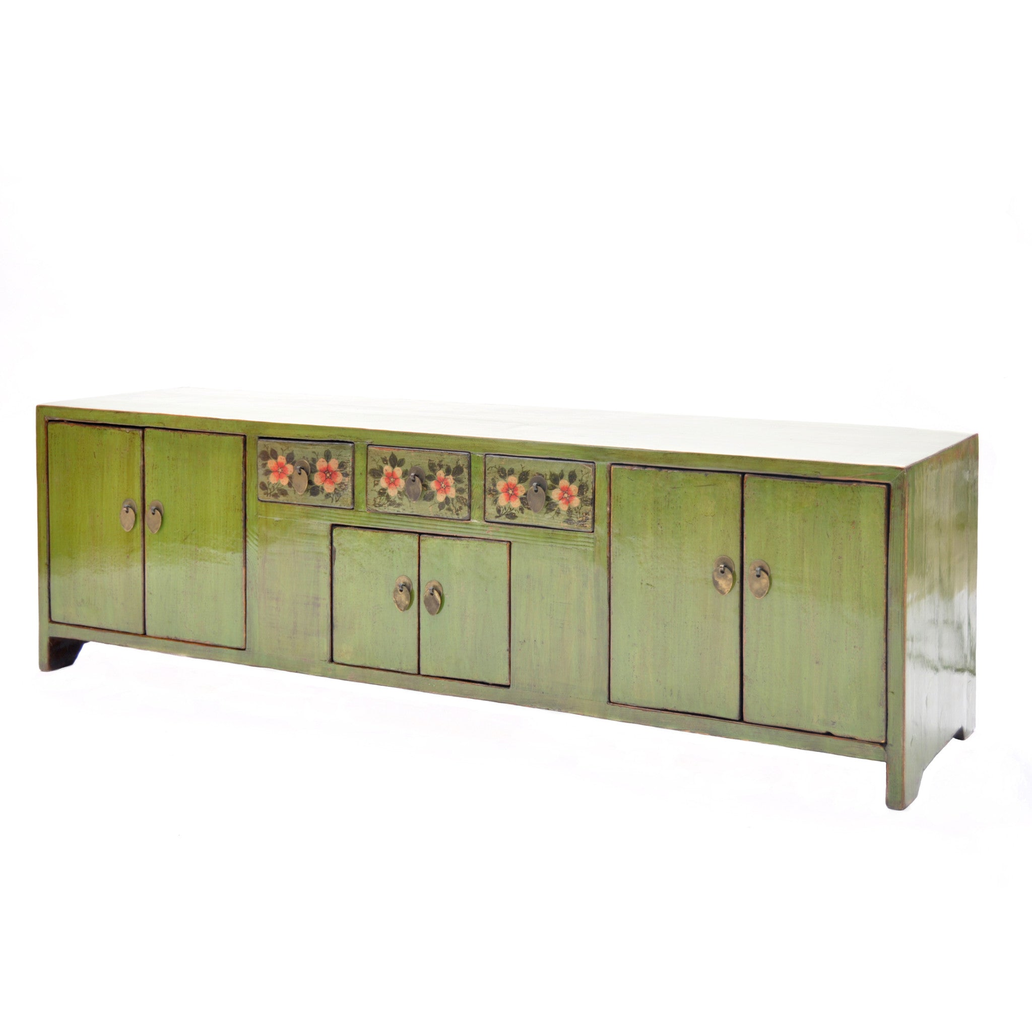 Low Green Chinese Sideboard with Red Flowers side view