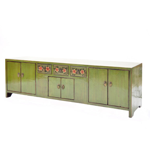 Low Green Chinese Sideboard with Red Flowers