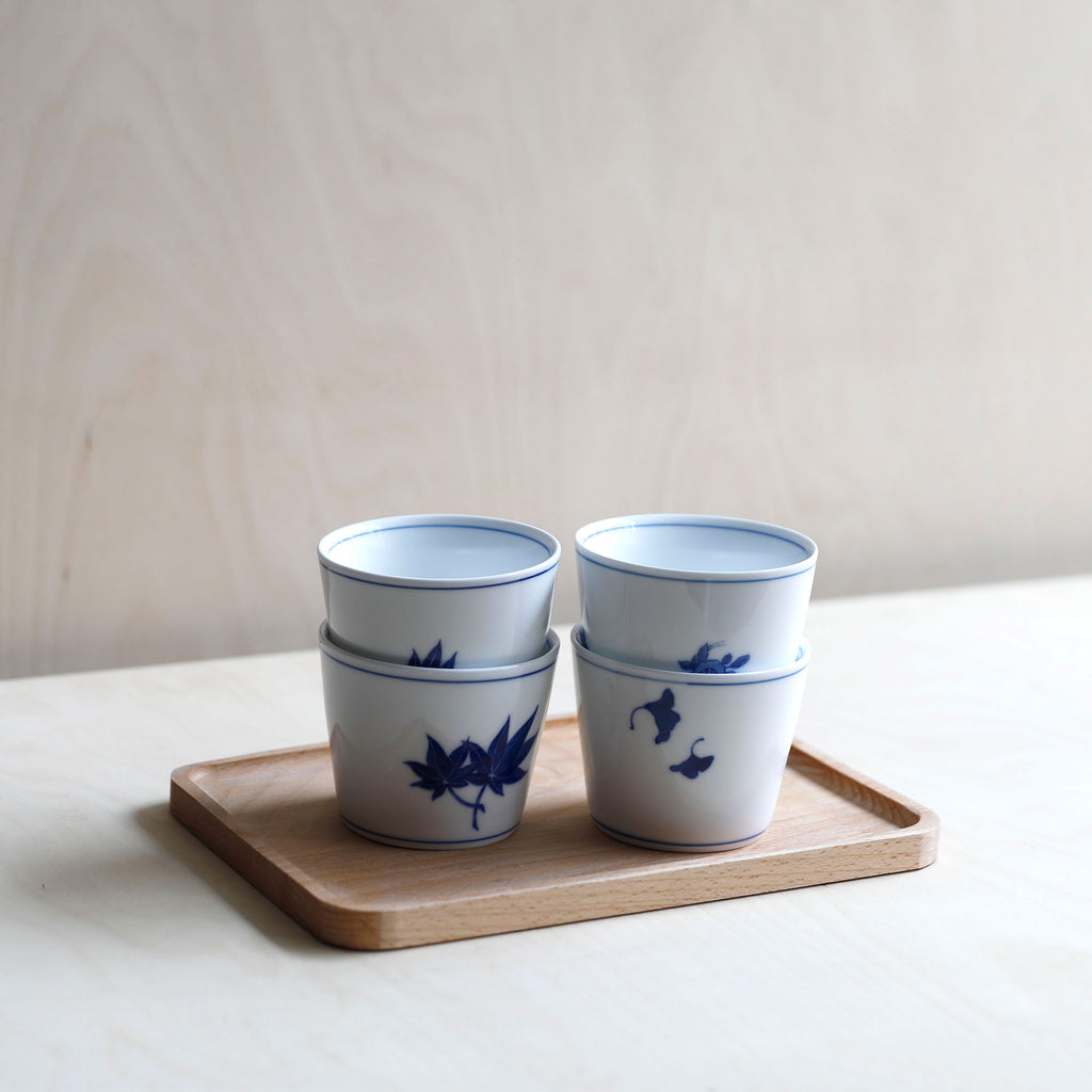 Cobalt Blue and White Porcelain Cup with Crane motif