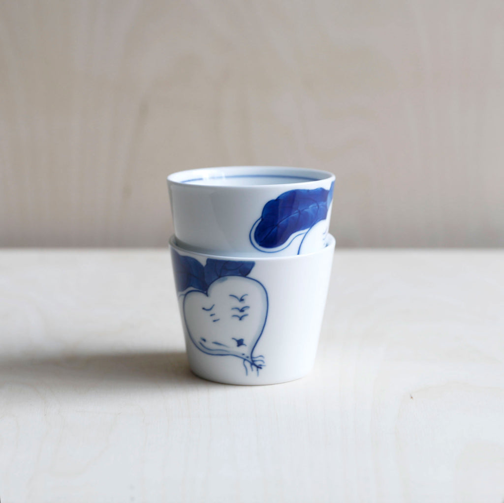 Cobalt Blue and White Porcelain Cup with Turnip motif