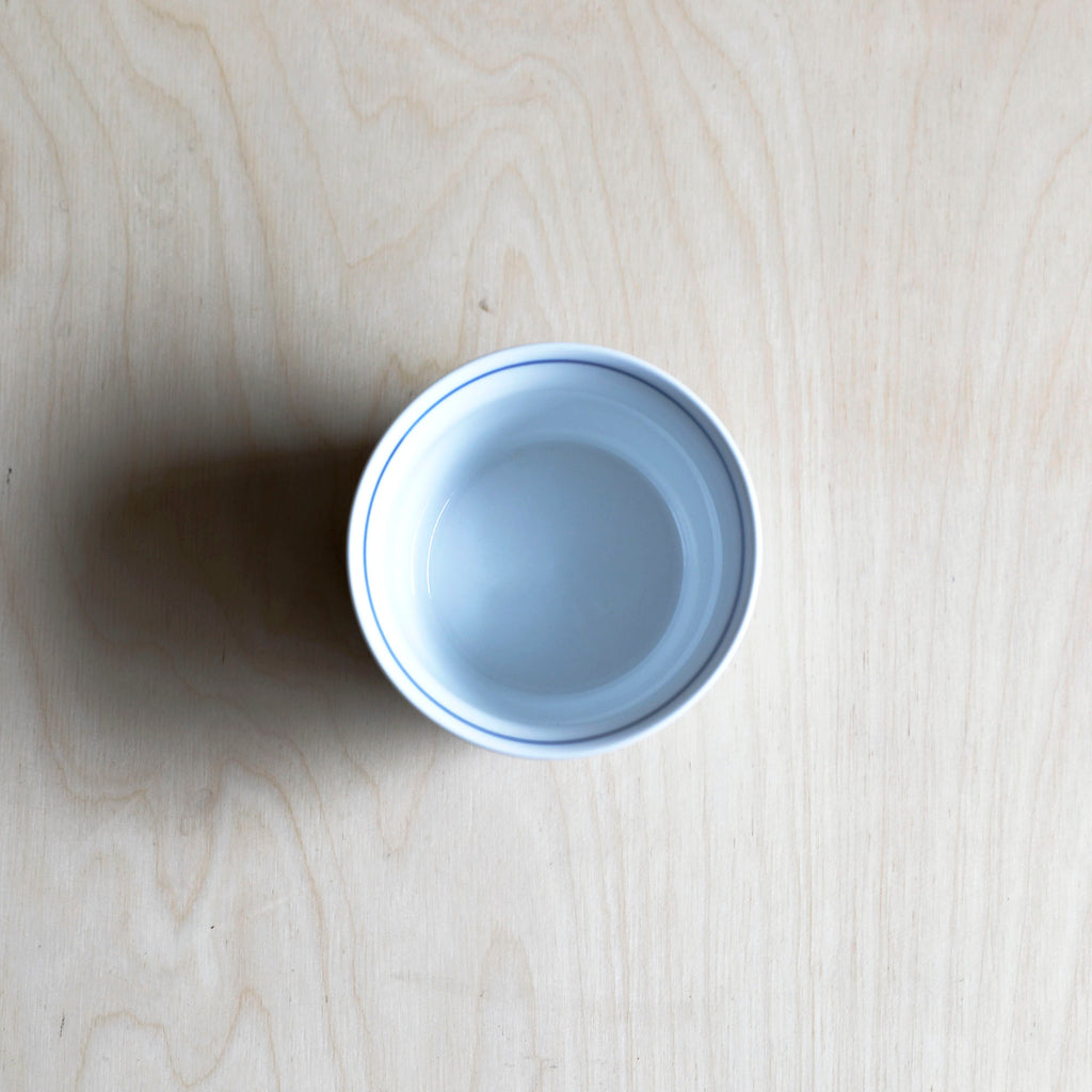 Cobalt Blue and White Porcelain Cup with Rose