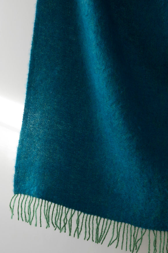 Mohair Blanket - Green/Petroleum