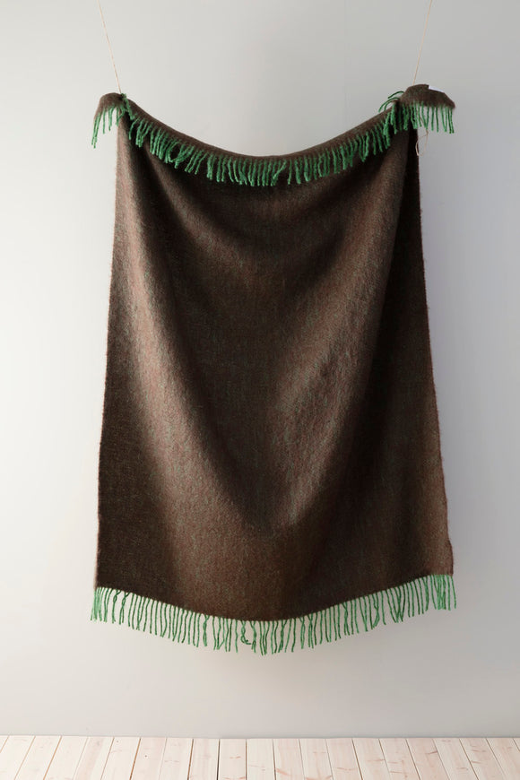 Mohair Blanket - Green/Brown
