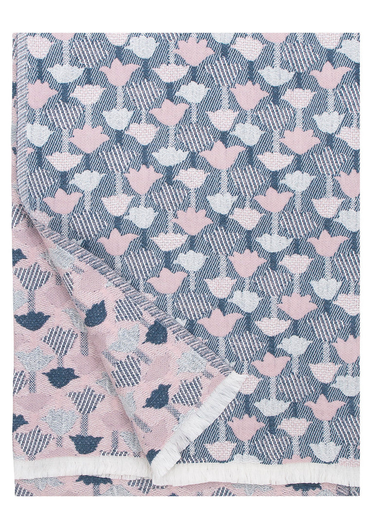 Woven Linen/Wool Throw - Rose/Blue