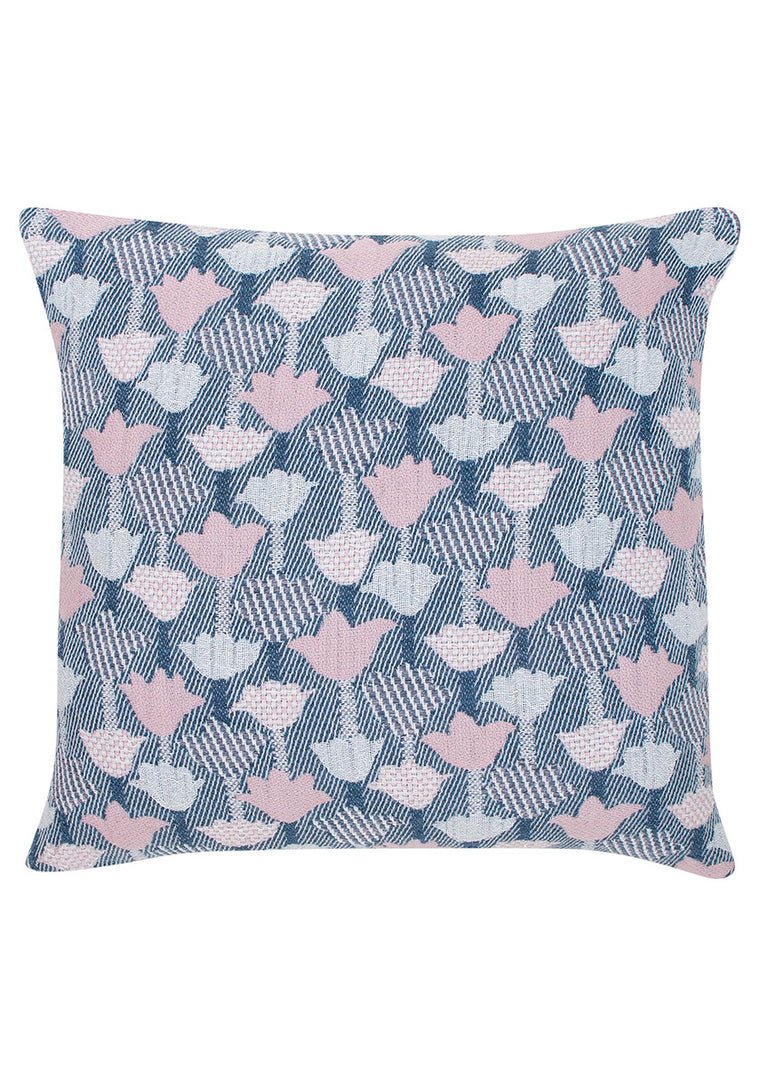 Woven Linen/Wool Cushion Cover - Rose/Blue