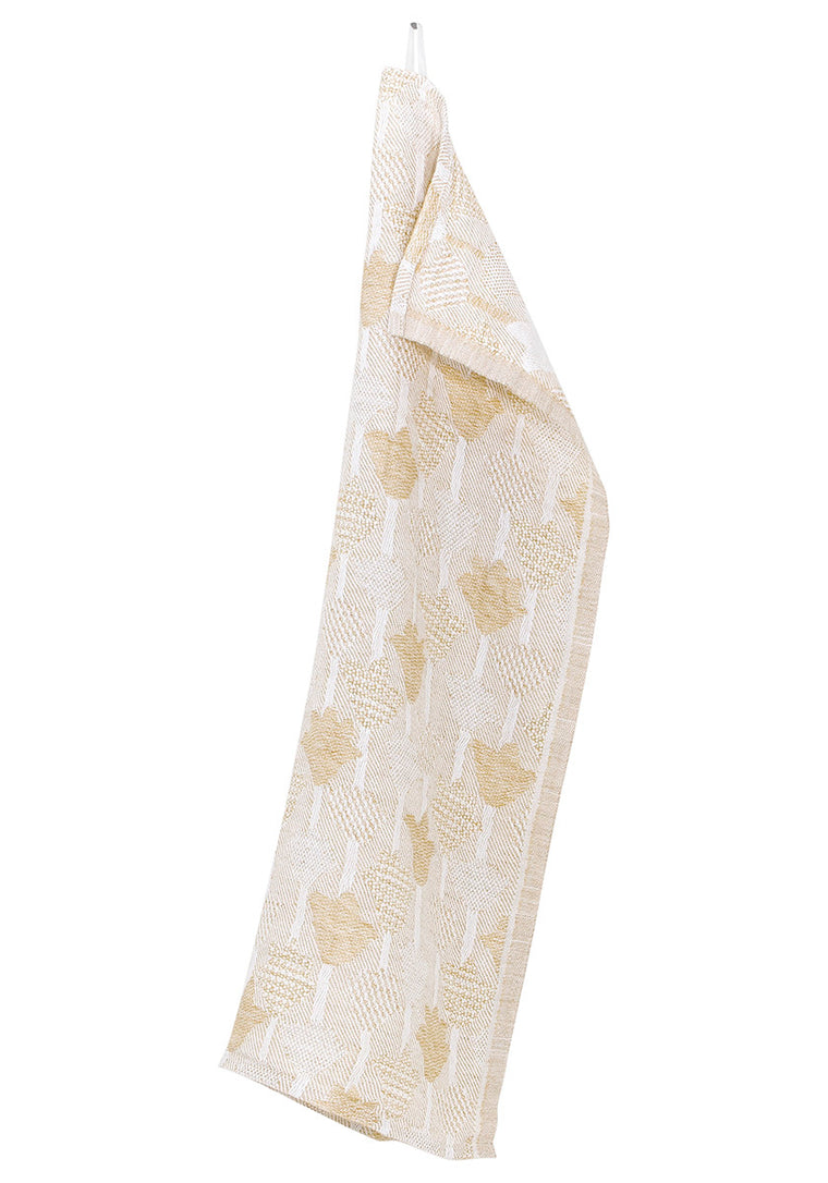 Jacquard woven tulip linen towel - Golden yellow