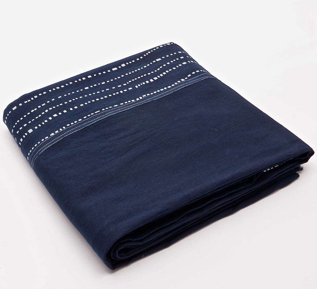 Table cloth with Indigo & Blue & White Geometric 'Wonky Lines' Pattern