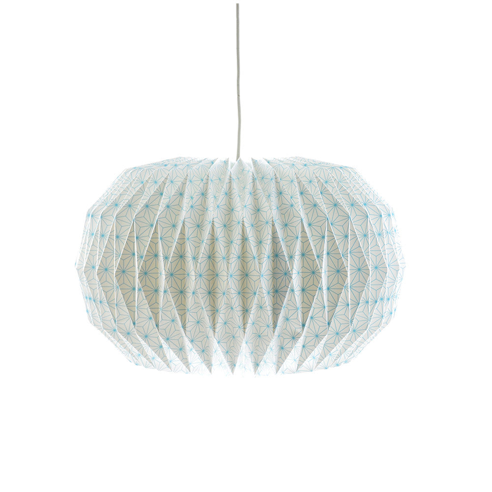 Origami Paper Pendant Lampshade in Geo Pattern Blue - Chinese homewares- Rouge Shop antique stores London - city furniture