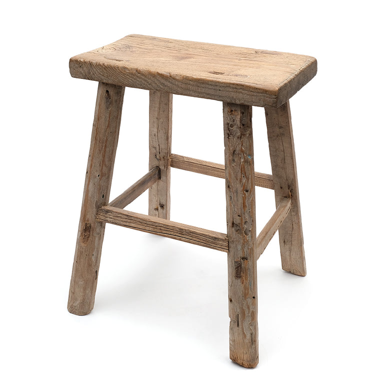 Rustic Elm Chinese Four-Legged Stool (No 01) - Chinese homewares- Rouge Shop antique stores London - city furniture