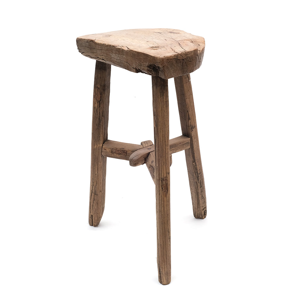 Vintage Chinese Elm Half Moon Three-Legged Stool (No 02) - Chinese homewares- Rouge Shop antique stores London - city furniture