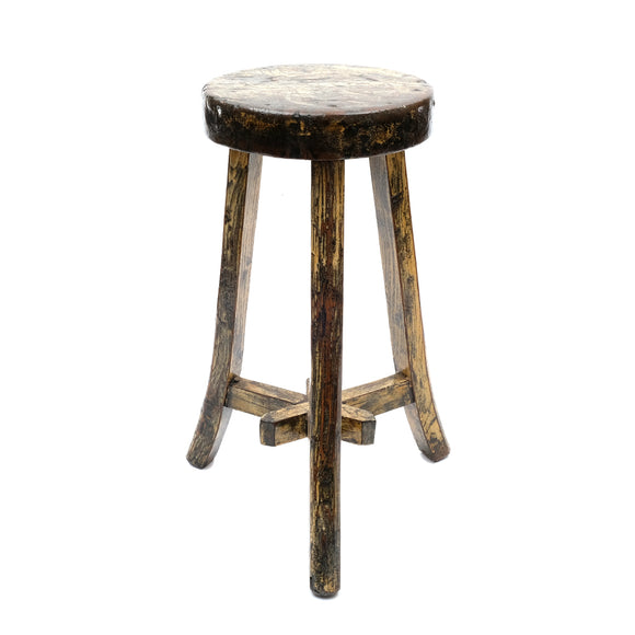 Round Chinese Pine Three-Legged Stool in Cream (No 03) - Chinese homewares- Rouge Shop antique stores London - city furniture