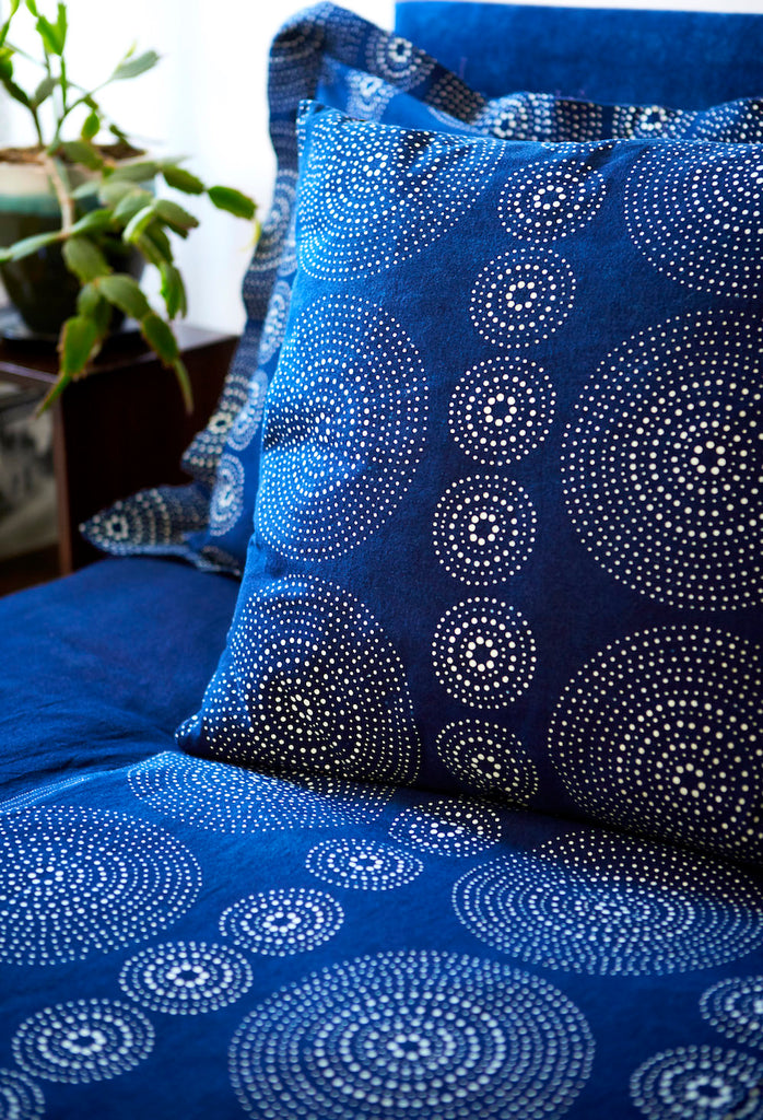 Bed Cover with Indigo & Blue & White Geometric  Ripple 'Twelve' Pattern - Chinese homewares- Rouge Shop antique stores London - city furniture