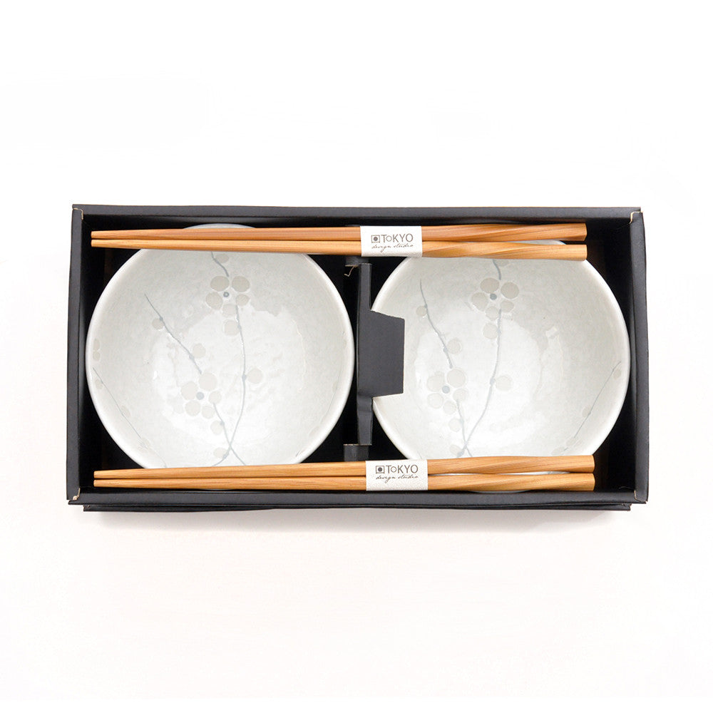 White Porcelain Cherry Blossom Two-Bowl Set in the box