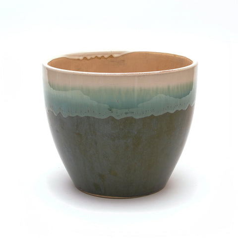 Ceramic Plant Pot White Drip on Green Glaze - Large - Chinese homewares- Rouge Shop antique stores London - city furniture