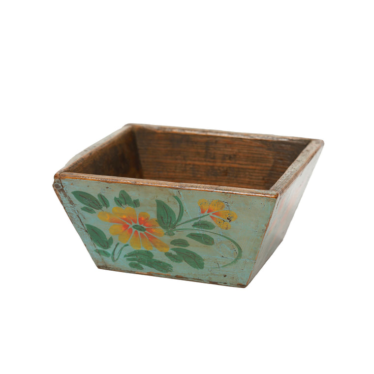 Hand Painted Wooden Chinese Storage Box - Jade Green