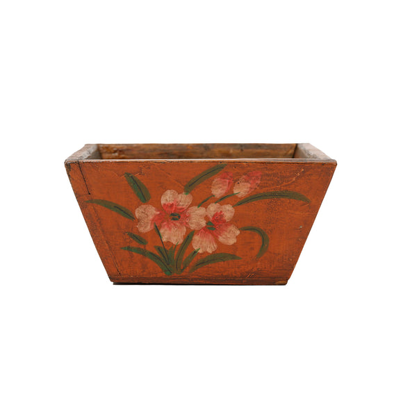 Hand Painted Wooden Chinese Storage Box - Orange 1