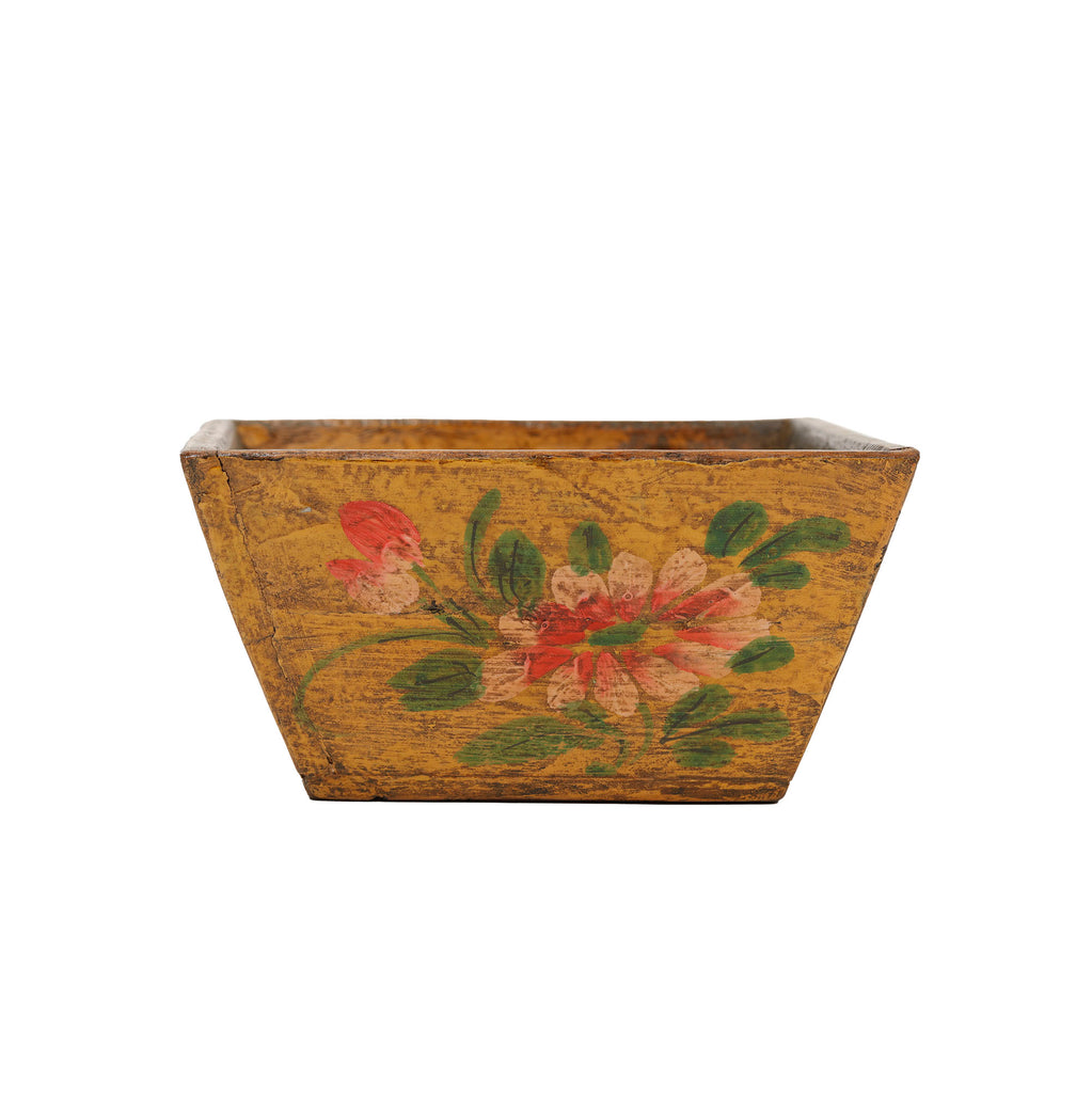 Hand Painted Wooden Chinese Storage Box - Ochre Yellow
