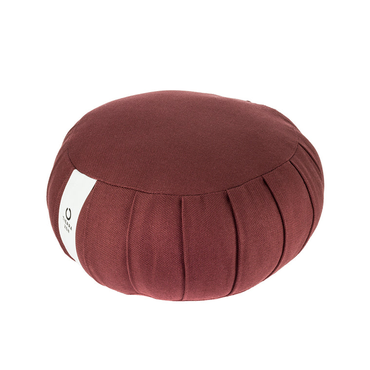 Burgundy Kapok Round Zafu - Meditation Cushion