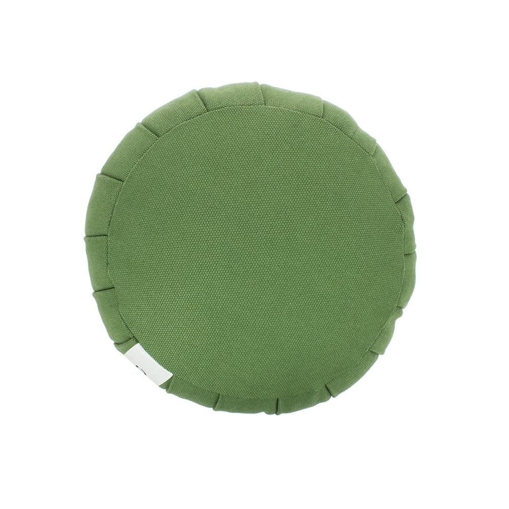 Olive Green Kapok Round Zafu - Meditation Cushion