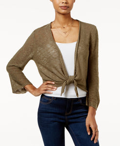 Hooked Up - Pointelle-back Tie-front Cardigan - Juniors - M