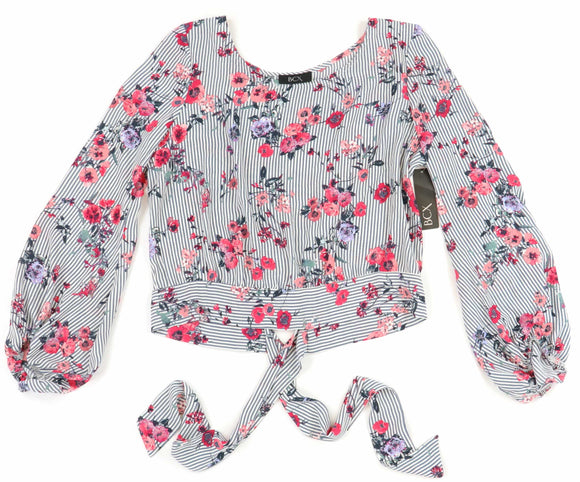 BCX - Printed Floral Long Sleeve Blouse - Juniors - XL