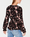 American Rag - Printed Ruffled V-Neck Top - Juniors - M