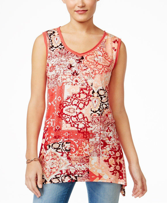 Style & Co.  - Printed Sleeveless V-Neck - Petities - XL - BLACK