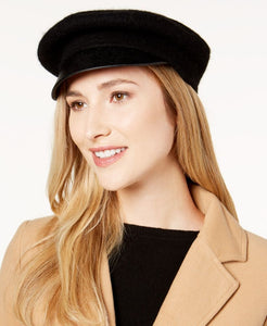 Nine West-Wool & Faux-Leather Newsboy Hat-Regular-One Size