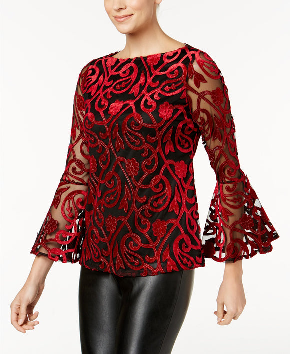 Charter Club-Burnout Velvet Bell-Sleeve Blouse-Regular-S
