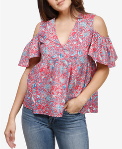 Lucky Brand - Cold-Shoulder BabyDoll Top - Regular - XL