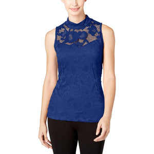 INC International Concepts - Lace Mock-Neck Top - Petities - S - NAVY