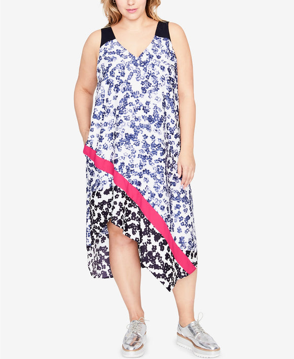 RACHEL Rachel Roy  - Printed Asymmetrical Dress - Plus - 2X