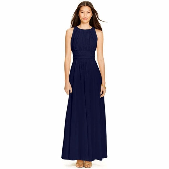 Lauren Ralph Lauren - Sleeveless Ruched Gown - Petities - 8 - NAVY