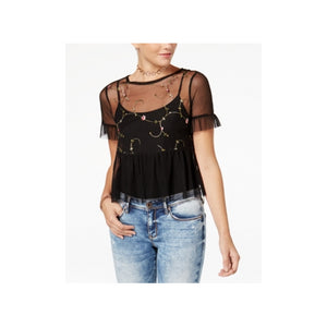American Rag - 1Pc Sheer Embroidered Top - Juniors - L