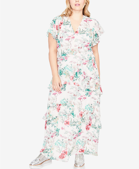 RACHEL Rachel Roy - Flutter-Sleeve Maxi Dress - Plus - S P