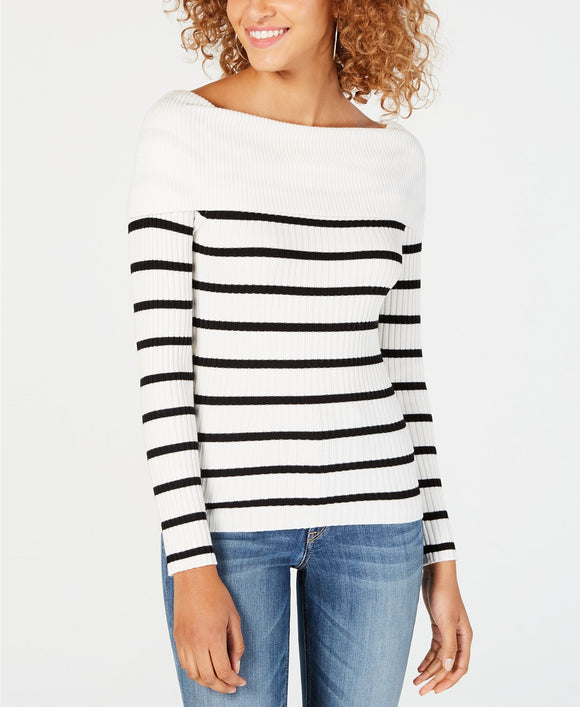 Hooked Up by IOT  - Off-The-Shoulder Striped Sweater - Juniors - LARGE