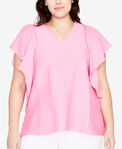 RACHEL Rachel Roy  - Flutter-Sleeve Top - Plus - 0X