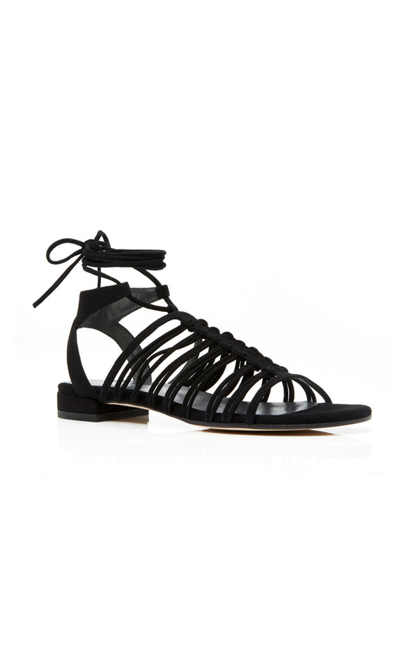 Knotagain Suede Lace-up Sandals Black, 5.5M