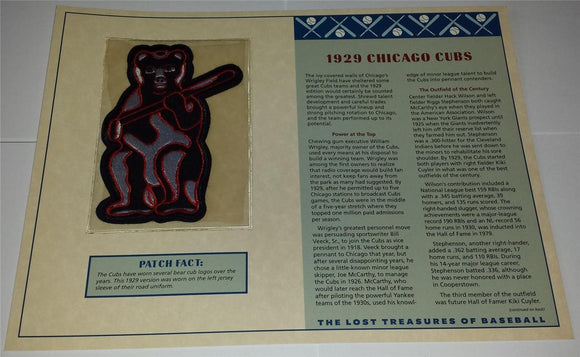 1929 CHICAGO CUBS MLB BASEBALL WILLABEE & WARD LOST TREASURES EMBLEM PATCH