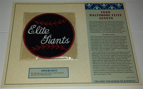 1949 BALTIMORE ELITE GIANTS MLB NEGRO LEAGUE WILLABEE & WARD EMBLEM PATCH